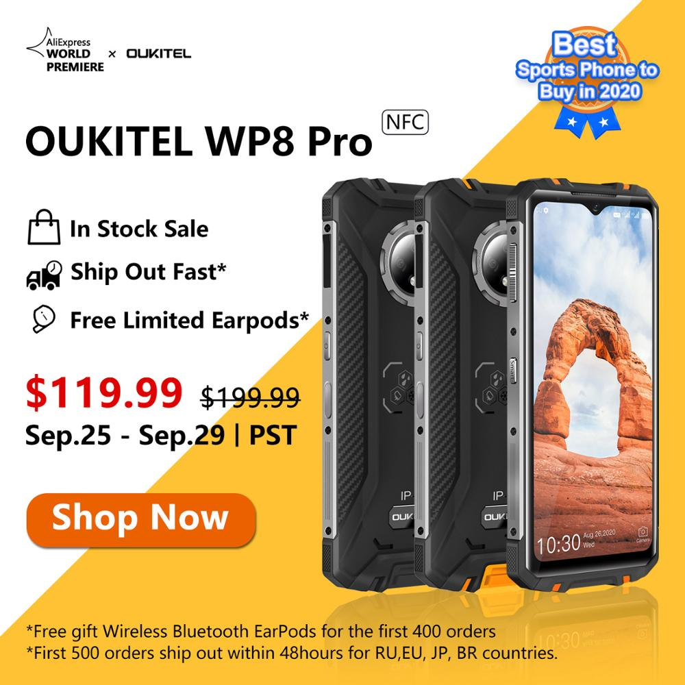 OUKITEL WP8 Pro NFC Waterproof Global Version 4G Rugged Smartphone 6.49 inch Display Fingerprint Phone