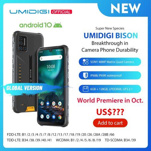 Umidigi BISON Rugged Smartphone 48MP Matrix Quad Camera 6.3-inch FHD+ Display 6GB + 128GB NFC Waterproof Phone