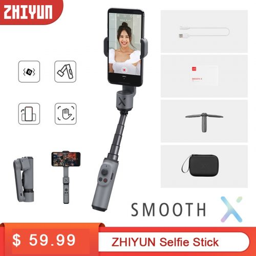 Zhiyun Smooth X Extendable Phone Selfie Stick Tripod Handheld Gimbal Foldable Stabilizer for Smartphone