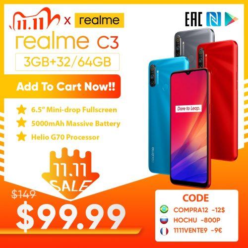 Realme C3 Smarthone 3GB RAM 32GB 64GB ROM AI Dual Camera HD Mini-drop Fullscreen NFC 5000mAh Battery Phone