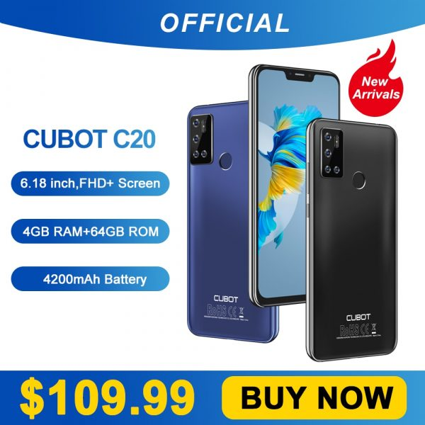 Cubot C20 Smartphone NFC 12MP Quad AI Camera 4GB+64GB 6.18 Inch FHD+ 4200mAh Android 10 Phone