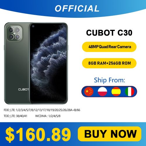 CUBOT C30 Smartphone 6.4 inch 48MP + 16MP + 5MP Rear Cams Android 10 Global Version Phone