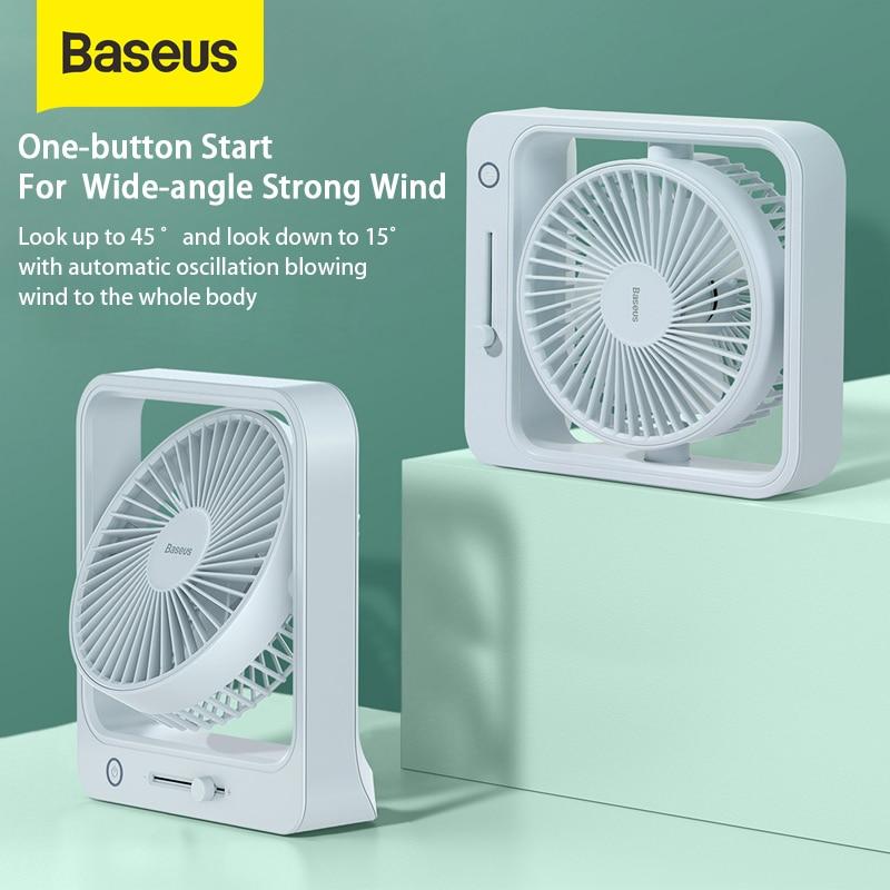 Baseus Cube Shaking USB Charging Cooling Fan 5400mAh Portable Summer Cooler For Office Desk or Bedroom